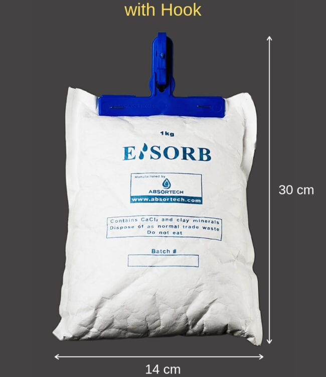 Esorb Mineral Desiccant 1kg TY with hook, Protection Experts Australia